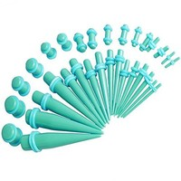 Gauges Kit 36 Pieces Turquoise Tapers and Plugs O-Ring 14G-00G Stretching Set -18 Pairs