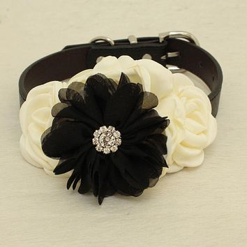 Ivory Black Rhinestone flower attach to Pink, Ivory, White, black, brown, copper or Champagne leather collar, Black beaded flower collar