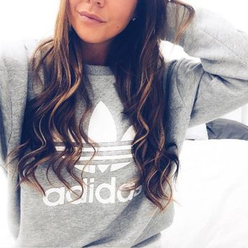 Gray Adidas Fashion Print Pullover Tops Sweater Sweatshirts