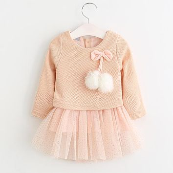 Nerlero Baby Dress 2017 Autumn Girls Dress Girl Clothes Bow Ball Gown Kids dresses