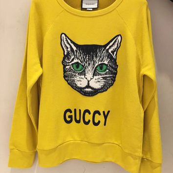 GUCCI Mystic Cat Fashion Casual Long Sleeve Sport Top Sweater Pullover Sweatshirt