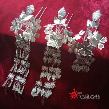 Miao clothes silver clothing hair accessory hat collar miao silver costume crownpiece hairpin bird hairpin