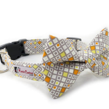 Grey and Orange Checkered Dog Collar  (Gray Dog Collar Only - Matching Bow Tie Sold Separately)