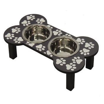 Wooden bone shaped dog feeder with paw print