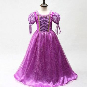 Princess Dress For Girl Fancy Cosplay Costume Children Clothing Girl Dress Cartoon Purple Gown Kid Party Fancy Ball Dress