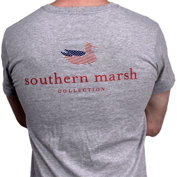 Southern Marsh Authentic Flag Tee in Light Gray by Southern Marsh