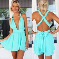 Back Cross Sexy Summer Jumpsuit, Evening Party Open Back Jumpsuit