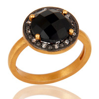 Black Onyx CZ Accent Sterling Silver Solitaire Promise Ring With Gold Plate