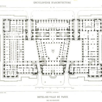 1873 Hotel de Ville Floor Plans, Set of 12 Architectural Drawings
