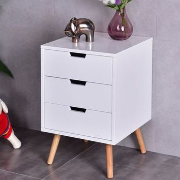 Costway White Side End Table Nightstand w/ 3 Drawers Mid-Century Accent Wood Furniture - Walmart.com