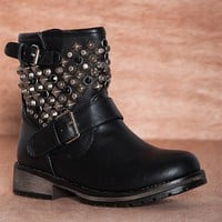 Breckelles Rev And Ride Studded Faux Leather Moto Boots Rocker-24 - Black