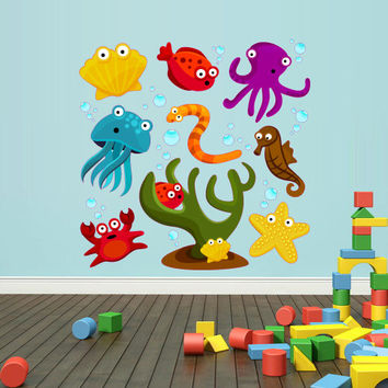 Full Color Wall Vinyl Sticker Decals Decor Art Bedroom Kids Nursery Cartoon Nautical Marine Ocean Octopus Star Set Bathroom (col89)