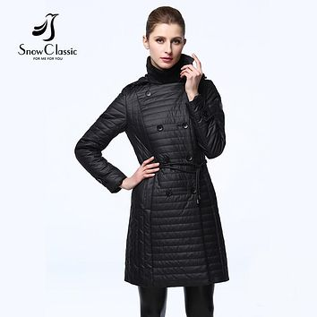 SnowClassic 2017 Spring Jacket Women Thin Slim Double Breasted Coats With Hood Parkas Short Women's Quilted Jacket New Arrival