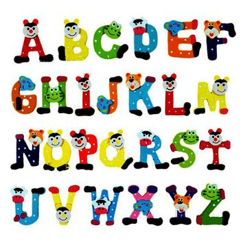 26pcs/pack Wooden Cartoon Alphabet A-Z Magnets Child Educational Toy English Letters Fridge Magnet Craft Toys for Children
