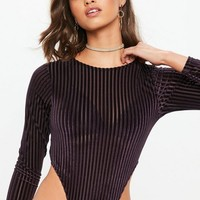 Missguided - Purple Velvet Stripe High Leg Bodysuit