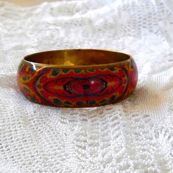 Floral colourful paisley bangle. brass. resin. glossy. pink, yellow. blue. vintage. retro. boho. 1970s. OOAK. gift. festival. summer bangle