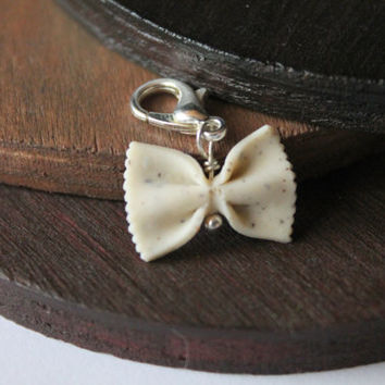 Mini bow tie jewelry 3 colours available pasta bow ties charm handmade with polymer clay miniature food jewelry one of a kind jewelry gift