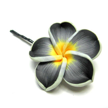 Frangipani Plumeria Black Yellow and White Bobby by SovereignSea