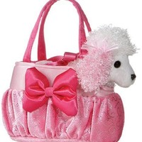 "Aurora Plush 6"" FancyPal Lots of Pink Poodle Pet Carrier"