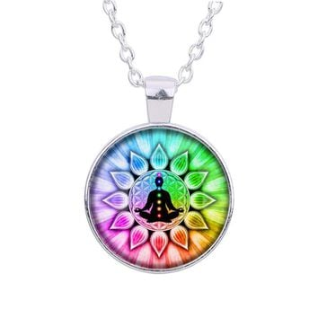 Colorful Flower of Life chakras Cabochon Meditation Buddha Glass Pendant Chain Necklace for Women/ Men