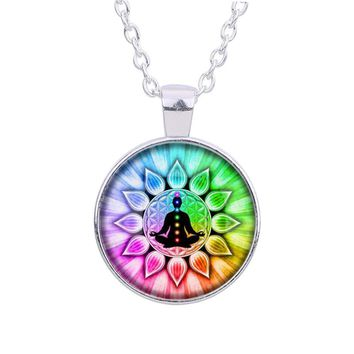 Colorful Flower of Life chakras Cabochon Meditation Buddha Glass Pendant Chain Necklace for Women Men