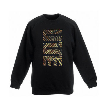 Sweater Black with African Adinkra application, made out of Holland Vlisco waxprint, print of brown, yellow, blue, streetwear, urban