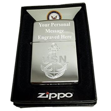 Zippo Custom Lighter - U.S. Navy Laser Engraving with Anchor Logo - Regular High Polish Chrome FREE ENGRAVING