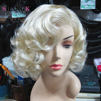 Marilyn Monroe Wig Synthetic Wig Short Wigs For Black/White Women Blonde Curly Wig Cosplay Perruque Synthetic Women Peruke