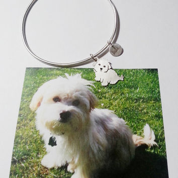 Custom Pet Portrait TaGette Bangle Bracelet .. Sterling Silver Dog silhouette Maltese Jewelry Memoralize Keepsake