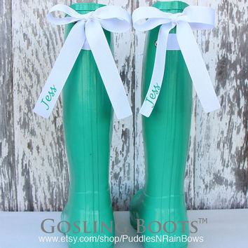 Custom Mint Gloss Rain Boot with Your Choice of Bow & Monogram
