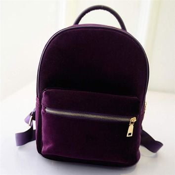 Fashion Luxury Women Gold Velvet Small Rucksack Backpack School Book Shoulder Bag Solid Zipper Ladies Casual Backpacks