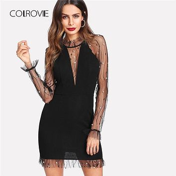 COLROVIE Black Pearl Beading Vine Mesh Panel Dress Women Ruffle Round Neck Long Sleeve Sexy Dress 2018 Party Bodycon Dress