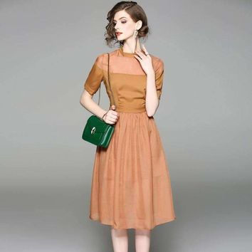 Womens A-Line Swing Short-Sleeves Pleated Knee-Length Dress