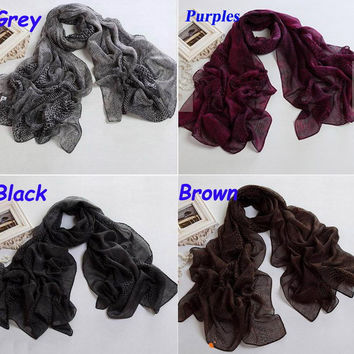 Women's Classic Fashion Long Soft scarves Polyester snake print Scarf Wrap Shawl 4 colors L007