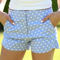 Polka Dot Shorts - Chambray