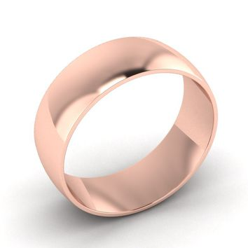 Rose Gold Mens Wedding Ring, 8.00mm Wide