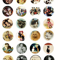 kitten cats vintage art clip art digital download collage sheet 1.5 inch circles vintage graphics old pet photo images printables pendants