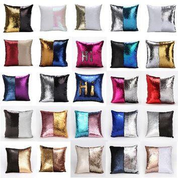 Double-sided Sequins Pillow Embroidered Sofa Cushion European Style Mermaid Pillowcases