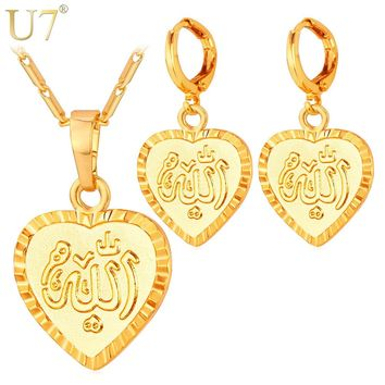 U7 Muslim Jewelry Set For Women Fashion Gold Color Heart Shaped Allah Earrings Necklace Set S736