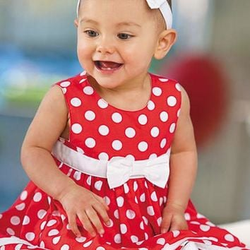 Cute baby girl dress/red dress with round dot and bowknot + red round dot leggings