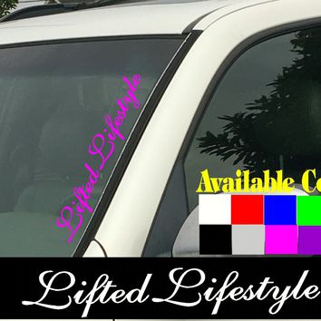 "Lifted Lifestyle Vertical Windshield  Die Cut Vinyl Decal Sticker 4"" x 22"""