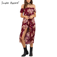 Simplee Apparel Burgundy floral print women elegant jumpsuit romper Summer 2016 sexy off shoulder maxi playsuit Girls overalls