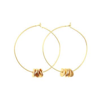 Hoops with brushed texture disks beads gold or silver