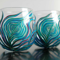 Peacock Feather Wine Glasses - Set of 2 Hand Painted Stemless Glasses - Blue, Green, Purple, Aqua and Gold feathers