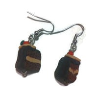 Chocolate Cake Earrings, Chocoholic, polymer clay charms, food jewelry, gag gifts, gift ideas, sweets, fake food, fun earrings, handmade