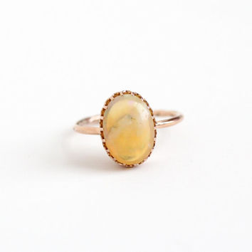 Antique 14k Rose Gold Jelly Opal Ring - Size 7.5 Vintage Edwardian Oval Colorful Gem Stick Pin Conversion Fine Gemstone Jewelry