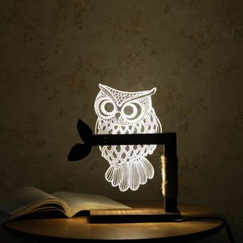 Owl - 3D Optical Illusion Led Lamp