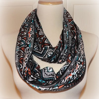 NEW!! Coral Teal Green and Black Ethnic Cotton Rayon Spandex Infinity Scarf Women's Accessories