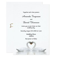 Two swans in love white wedding invitation card