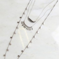 Lead & Charm Layered Necklace Silver